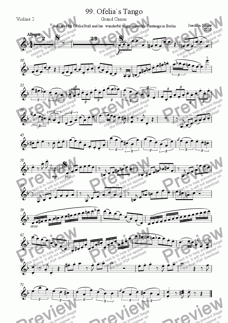 page one of the 2. Vl part from Grand Canon 99 (Ofelia ´s Tango)