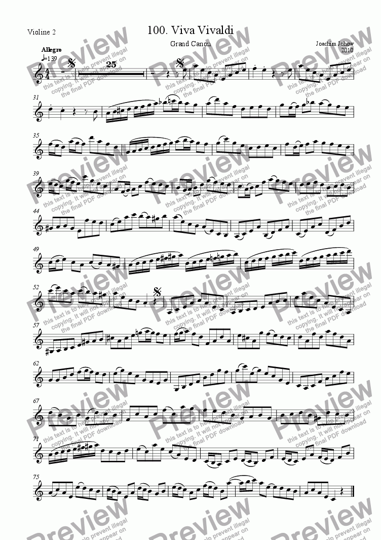 page one of the 2. Vl part from Grand Canon 99 b  alias  100 (Viva Vivaldi)
