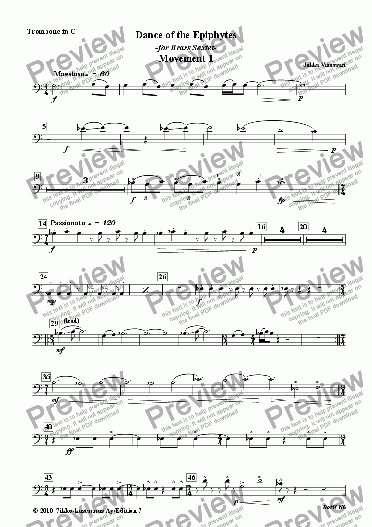page one of the 4. Trombone in C  B.C. part from Dance of the Epiphytes (for Brass Sextet)
