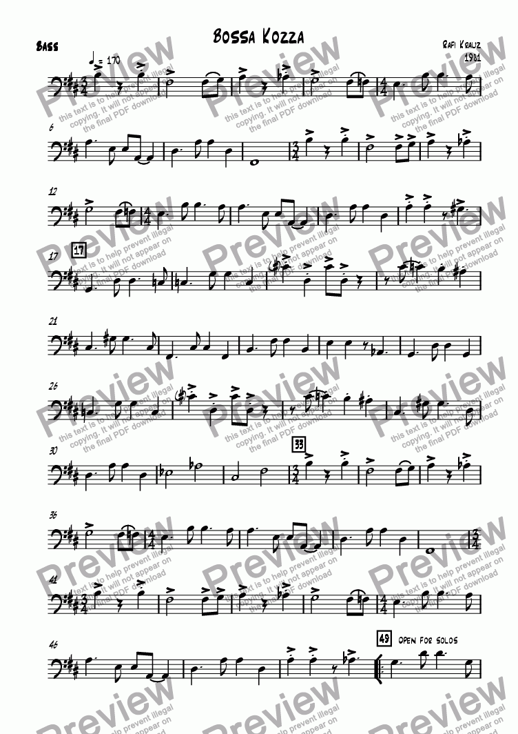 page one of the Bass part from Bossa Kozza