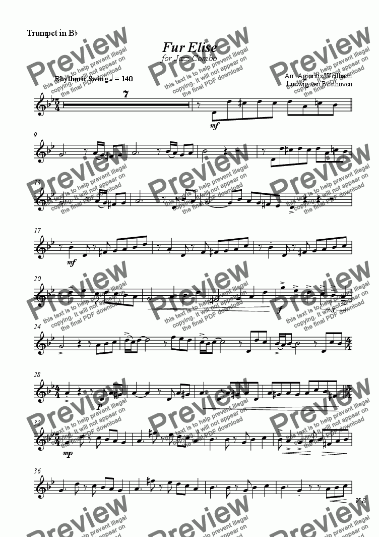 page one of the Trumpet part from Fur Elise - for Jazz Combo