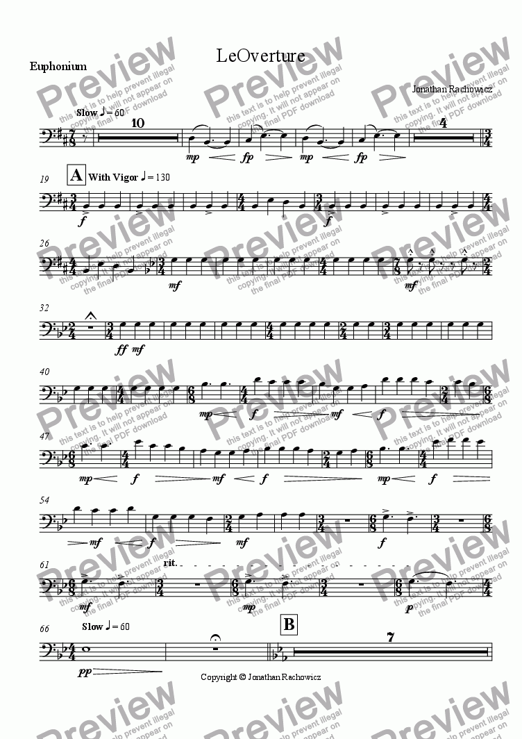 page one of the Euphonium part from LeOverture