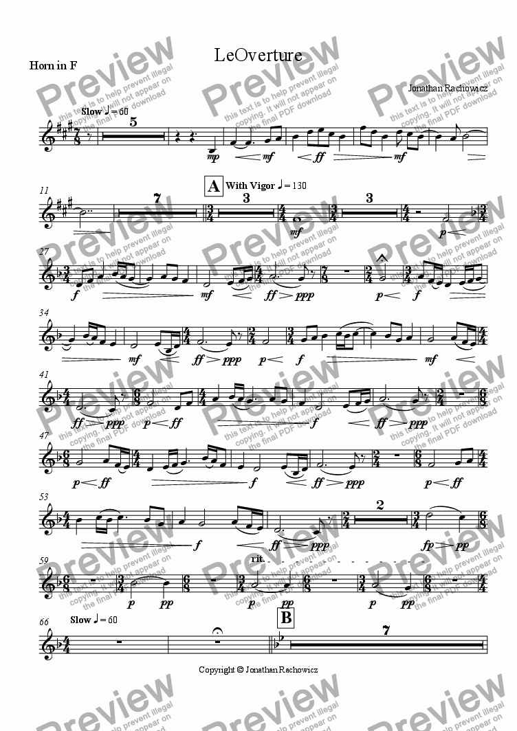 page one of the Horn in F part from LeOverture
