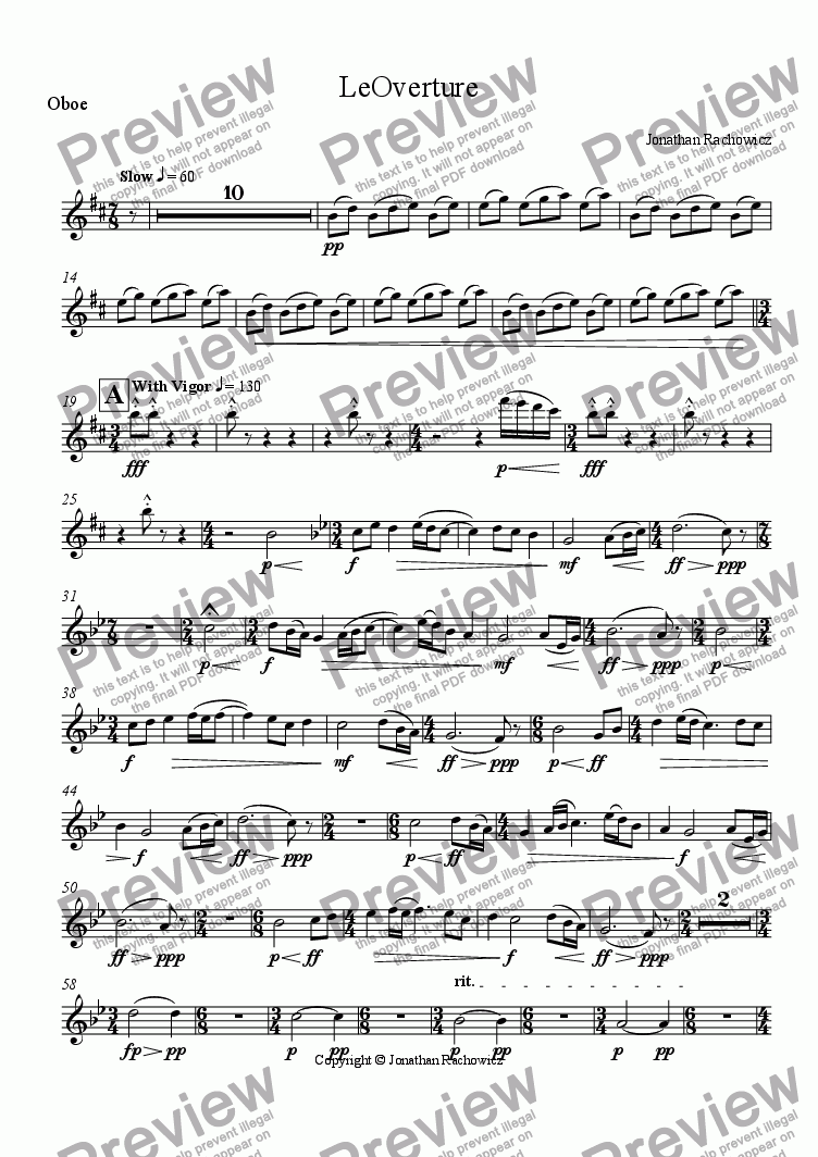 page one of the Oboe part from LeOverture
