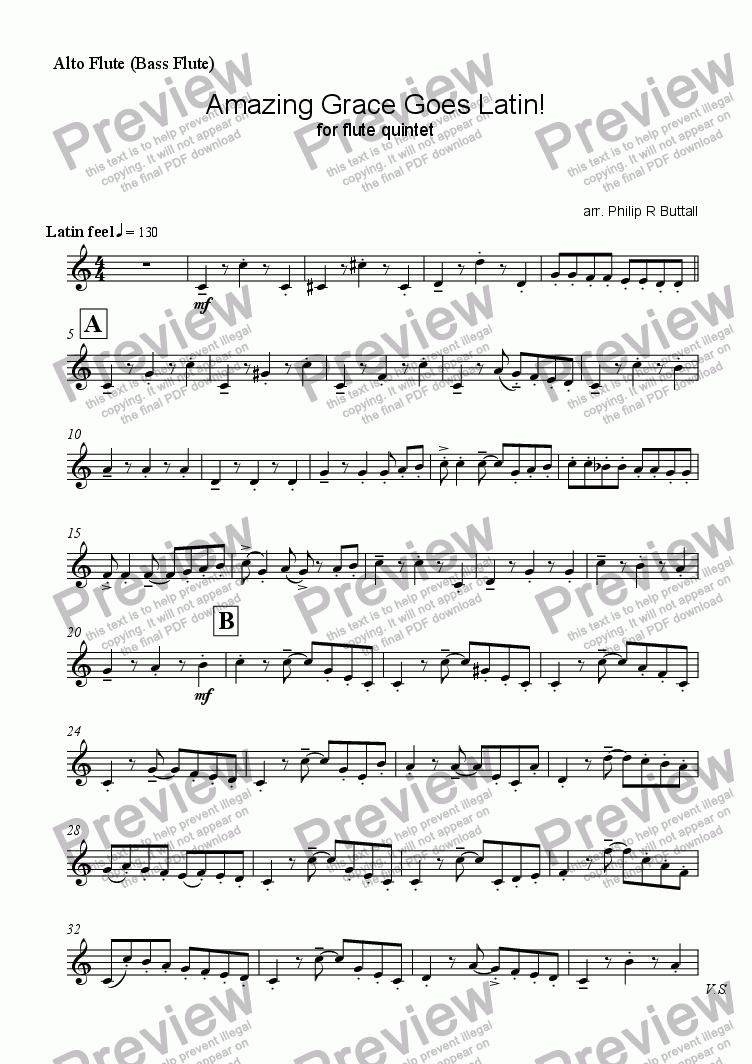 page one of the Alto Flute (for Bass Flute) part from Amazing Grace Goes Latin! (Flute Quintet)