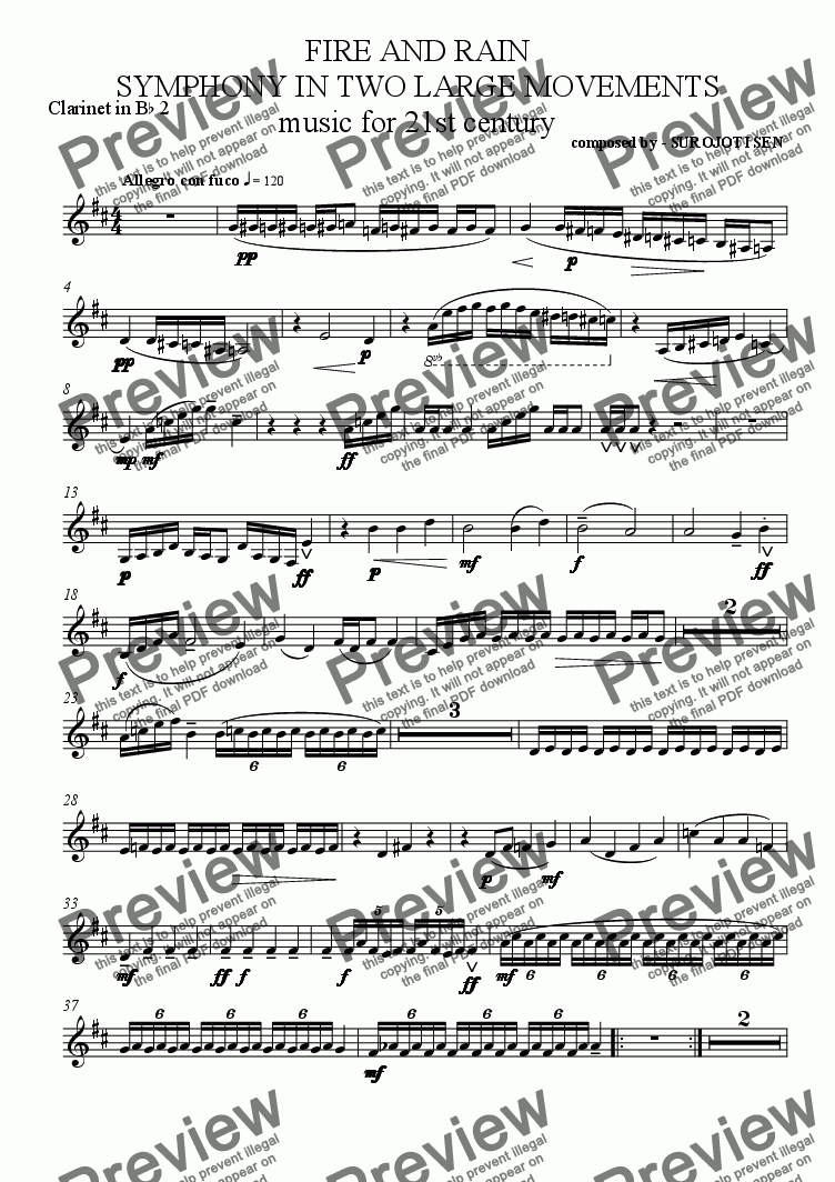 page one of the Clarinet in Bb 2 part from FIRE AND RAIN