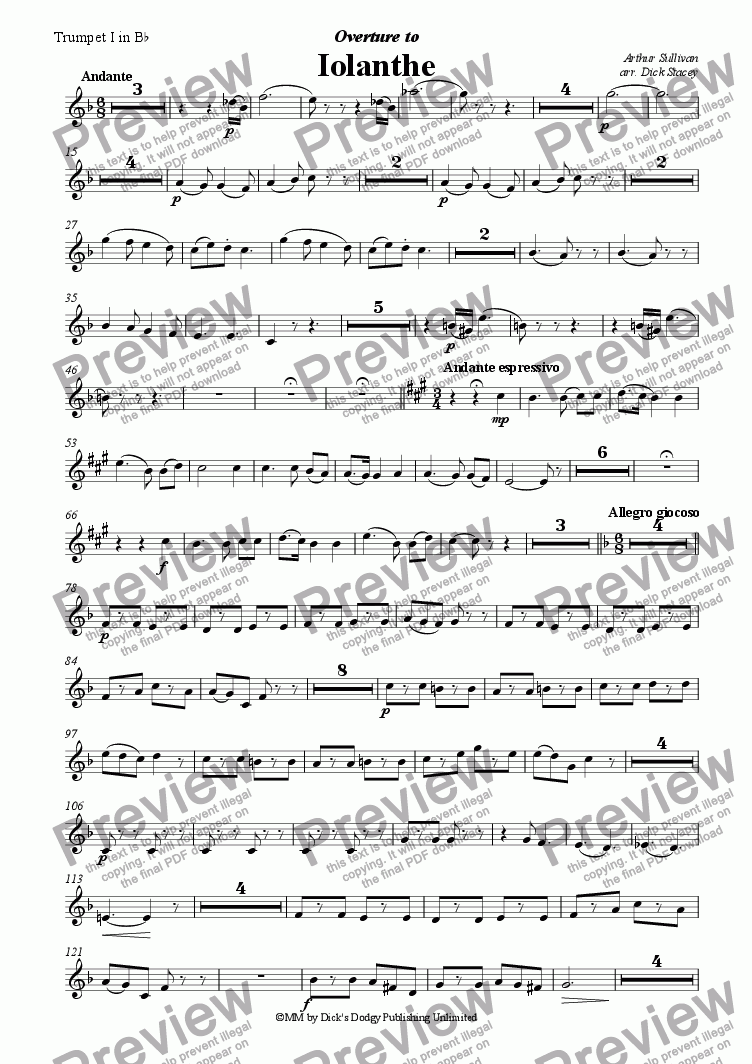 page one of the First Trumpet part from Iolanthe