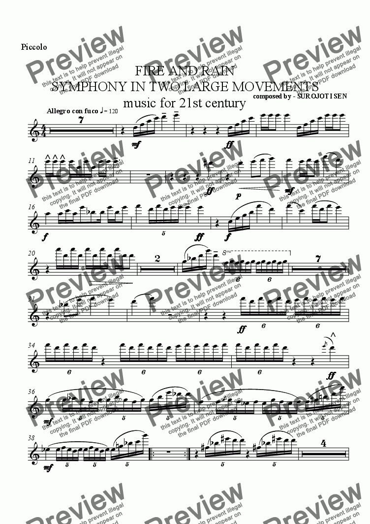 page one of the Piccolo - 1 part from FIRE AND RAIN