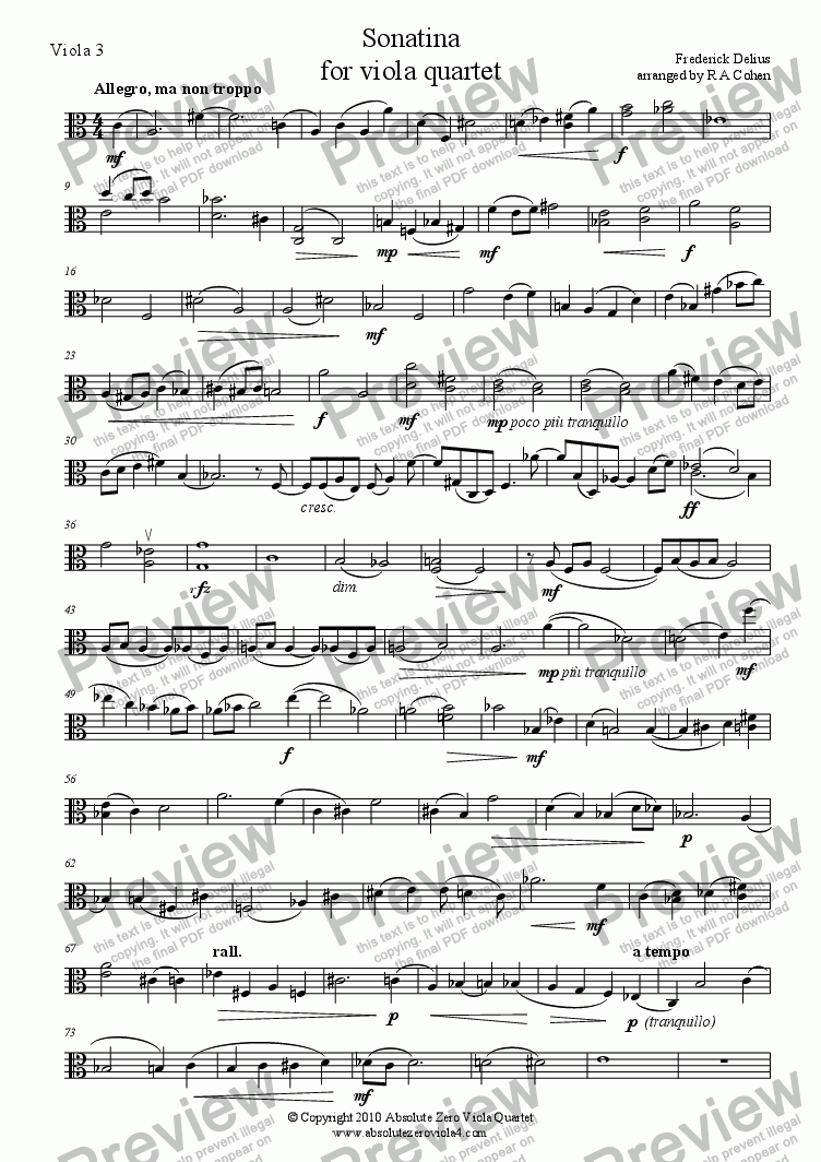 page one of the Viola 3 part from Delius - SONATINA - for viola quartet