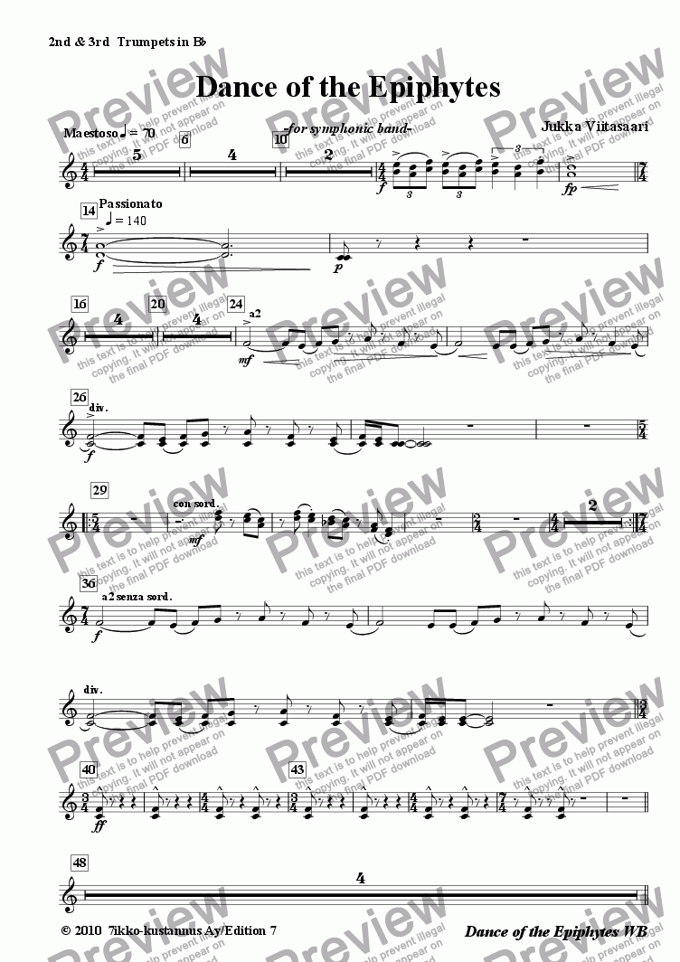 page one of the 15. Trumpets 2&3 in BB part from Danceof the Epiphytes (symphonic band)