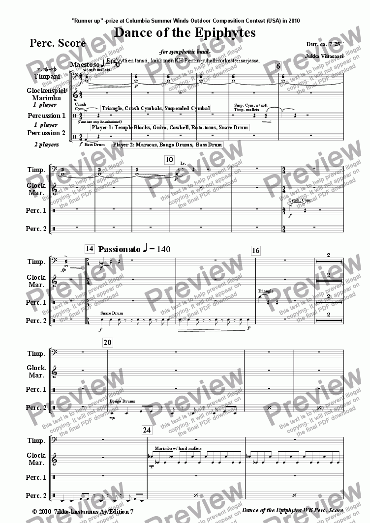 page one of the 27. Perc. Score part from Danceof the Epiphytes (symphonic band)