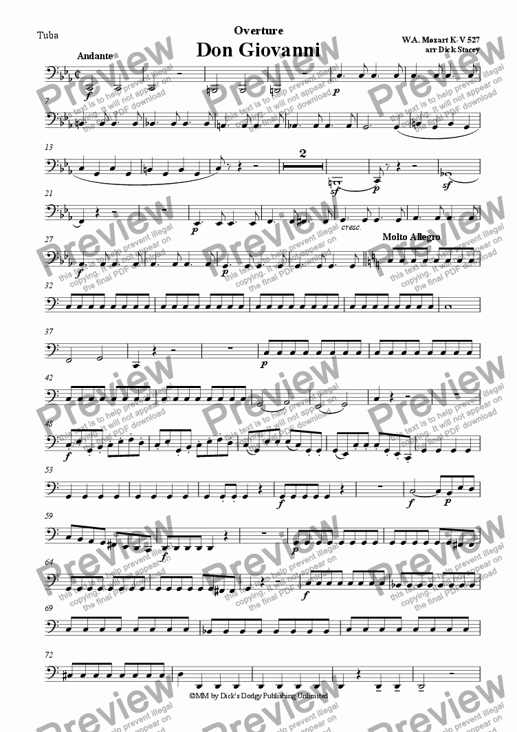 page one of the Tuba part from Don Giovanni