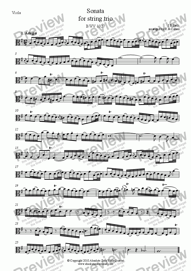 page one of the Viola part from Bach - SONATA - for string trio