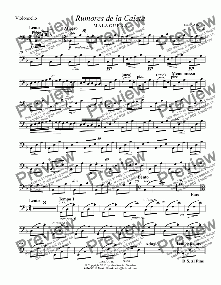 page one of the violoncello part from Rumores de la Caleta Op. 71, No 6 for string quartet