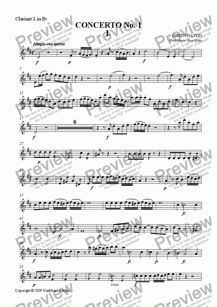 page one of the Bb Clarinet 2 part from Haydn: Concerto No. I (Classical Wind Ensemble)