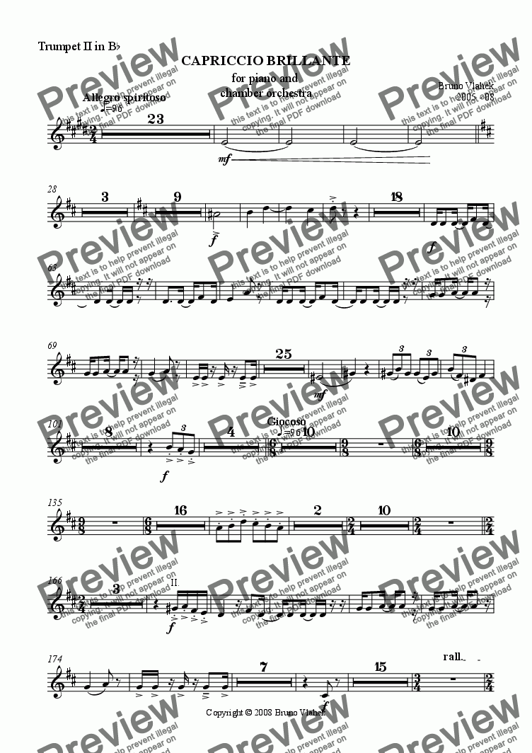 page one of the Trumpet II part from Capriccio Brillante for piano and chamber orchestra
