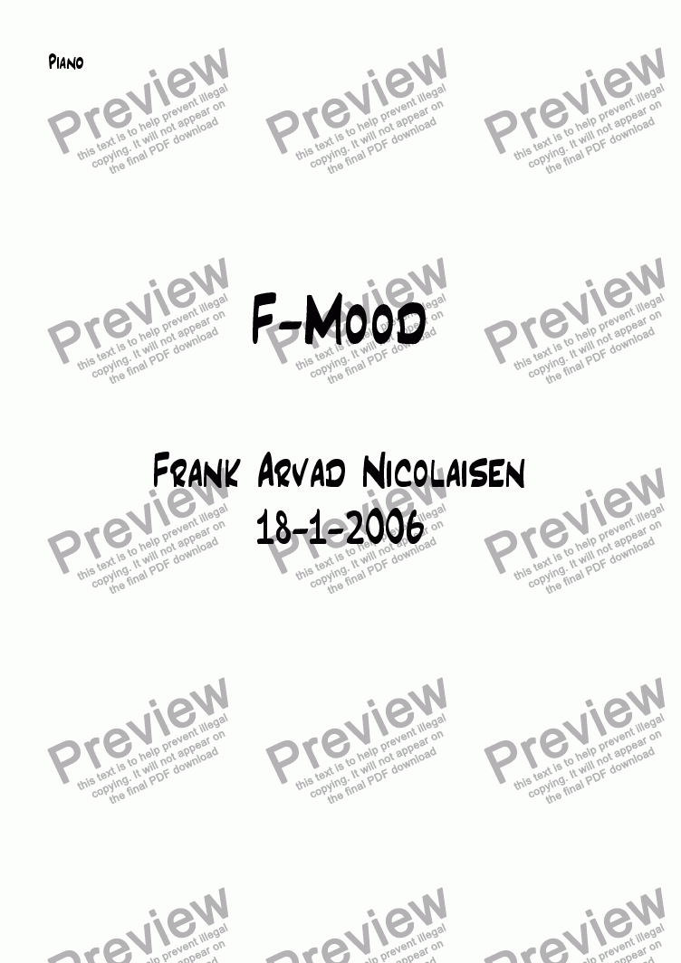 page one of the Piano part from F-Mood