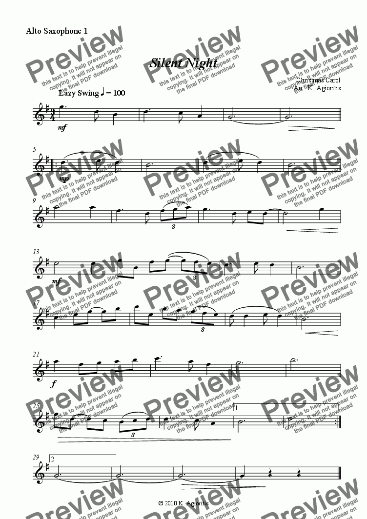 page one of the Alto Sax 1 (sop) part from Silent Night - Jazz Carol for Saxophone Quartet
