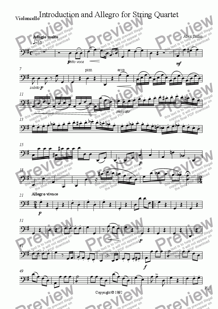 page one of the Violoncello part from Introduction and Allegro for String Quartet