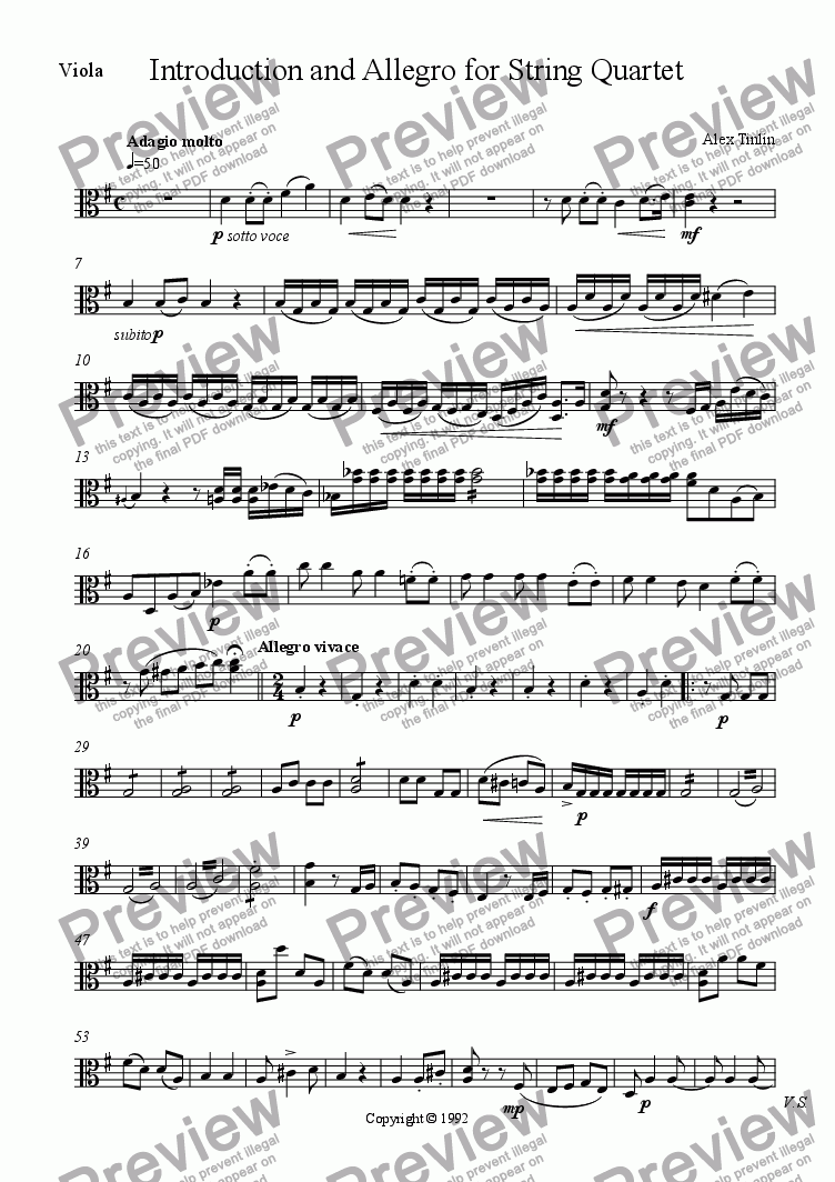 page one of the Viola part from Introduction and Allegro for String Quartet