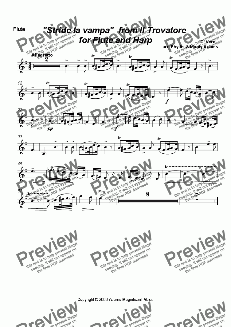 "page one of the Flute part from ""Stride la vampa"" from Il Travatore for Flute & Harp"