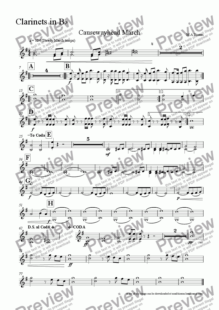 page one of the Clarinet 1,2 part from Causewayhead march for School Orchestra