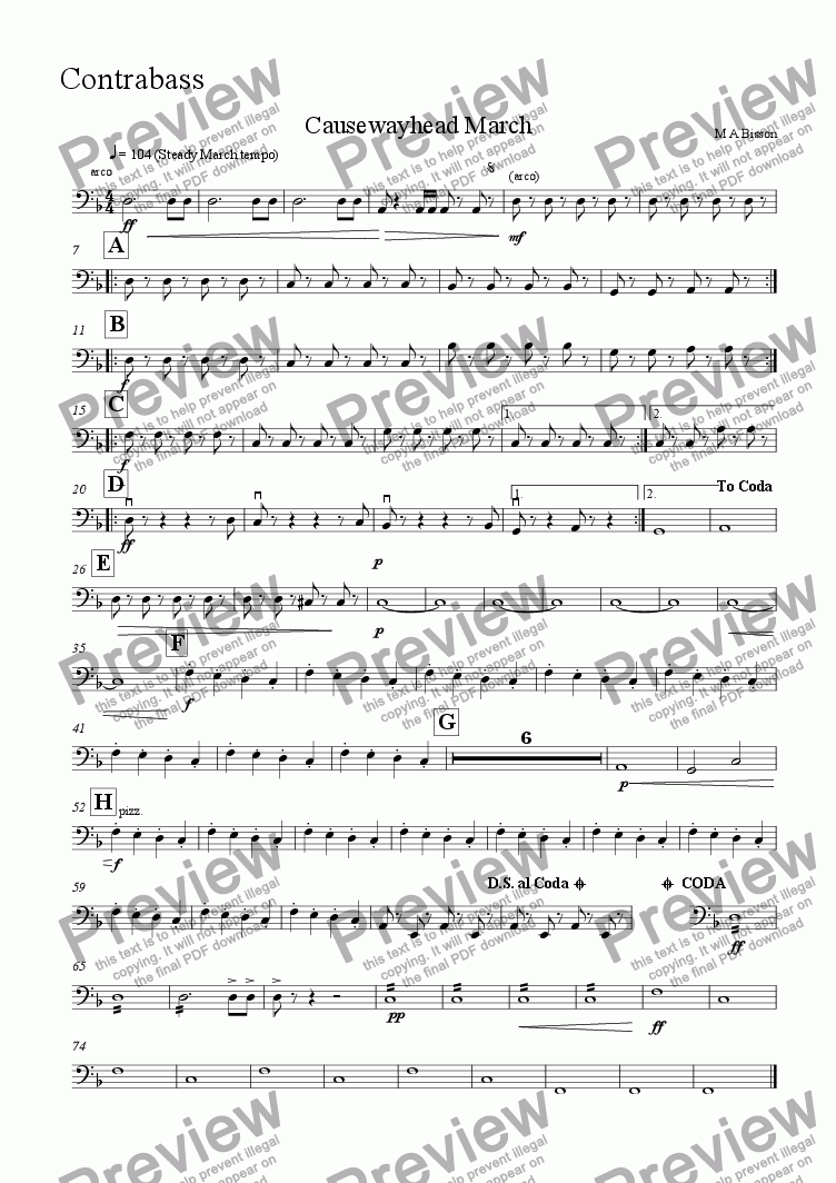page one of the Double Bass part from Causewayhead march for School Orchestra