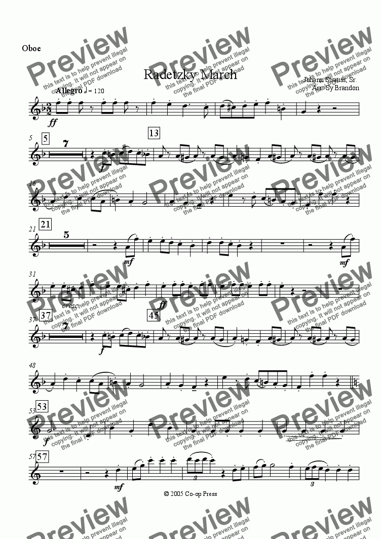 page one of the Oboe part from Radetzky March for Woodwind Quintet