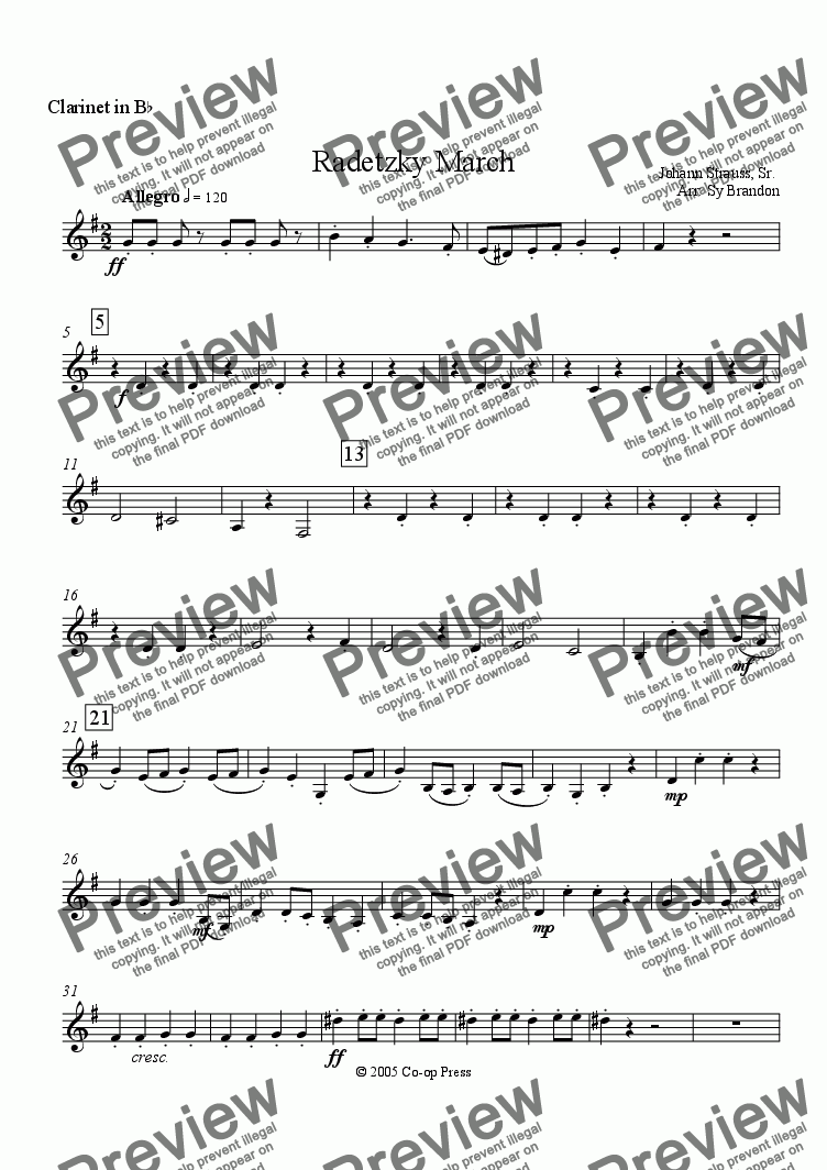 page one of the Clarinet in Bb part from Radetzky March for Woodwind Quintet