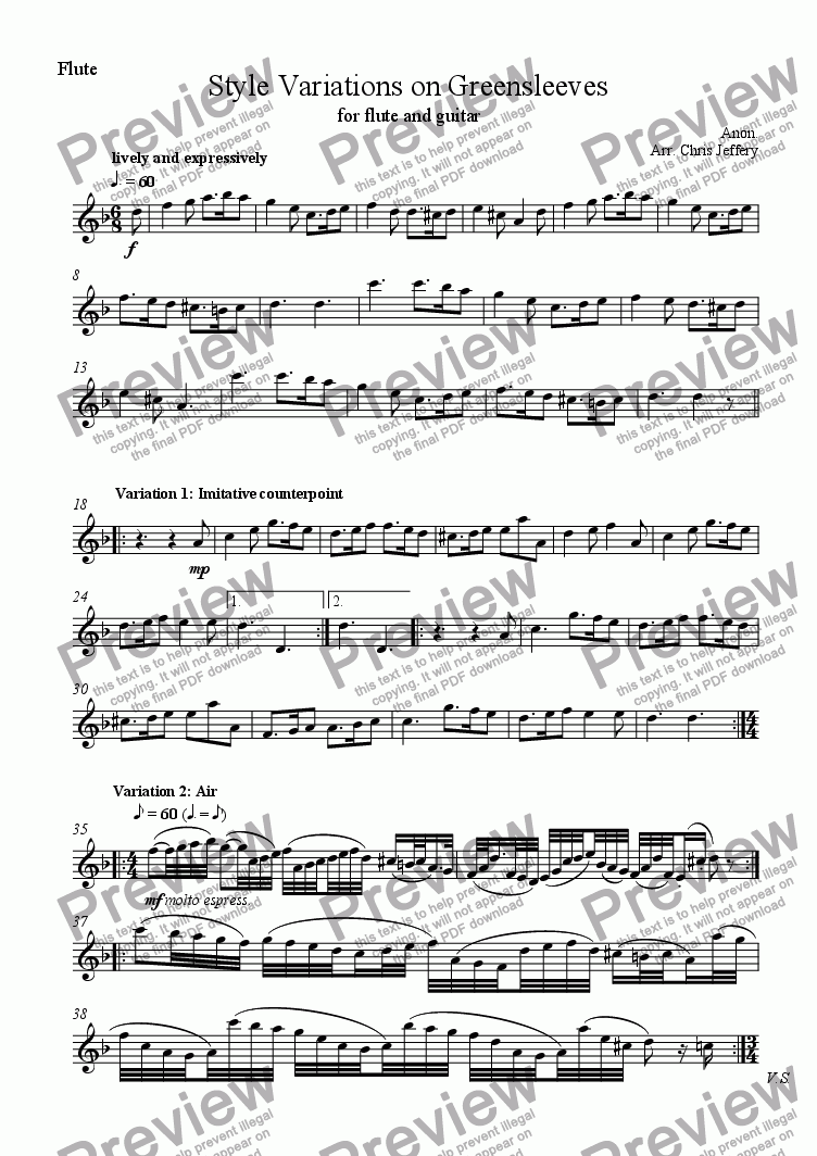page one of the Flute part from Style Variations on Greensleeves