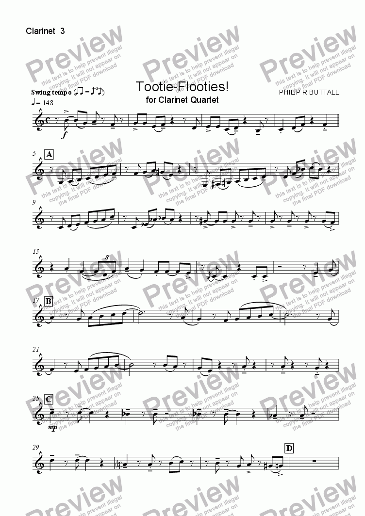 page one of the Clarinet 3 part from Tootie-Flooties! (Clarinet Quartet)