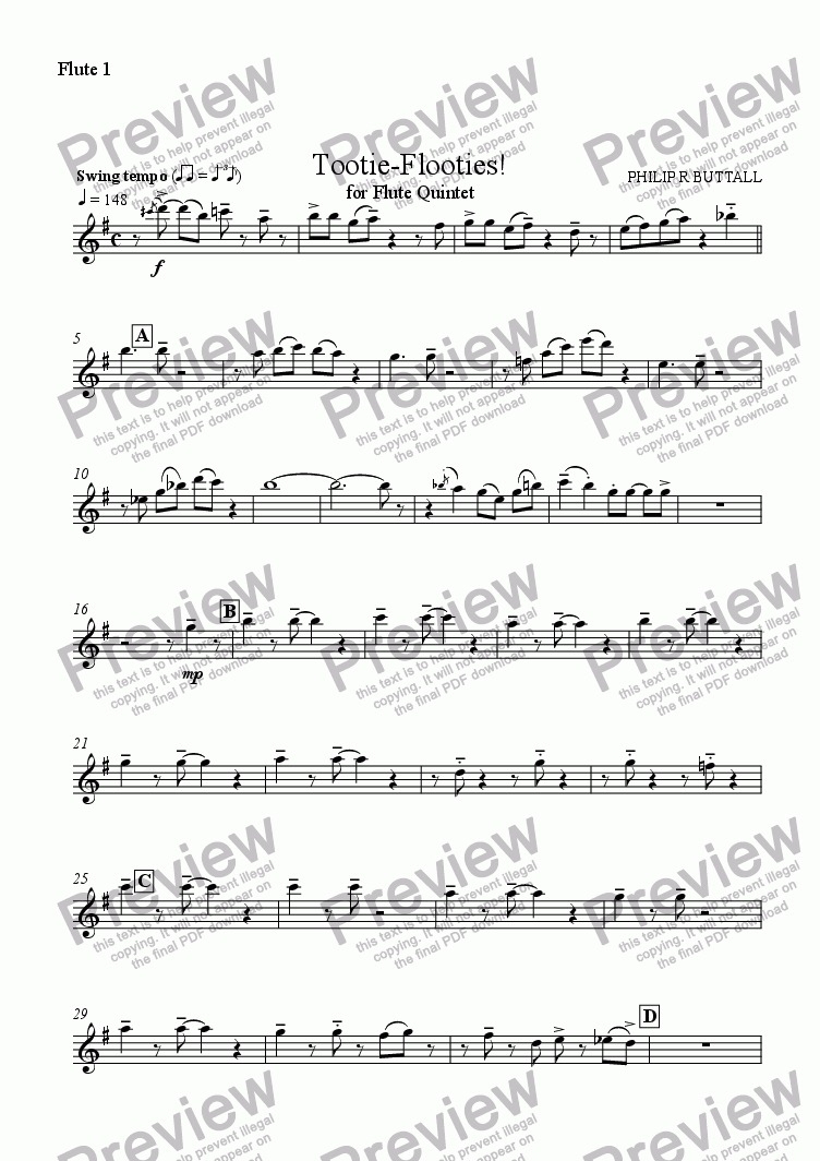 page one of the Flute 1 part from Tootie-Flooties! (Flute Choir)