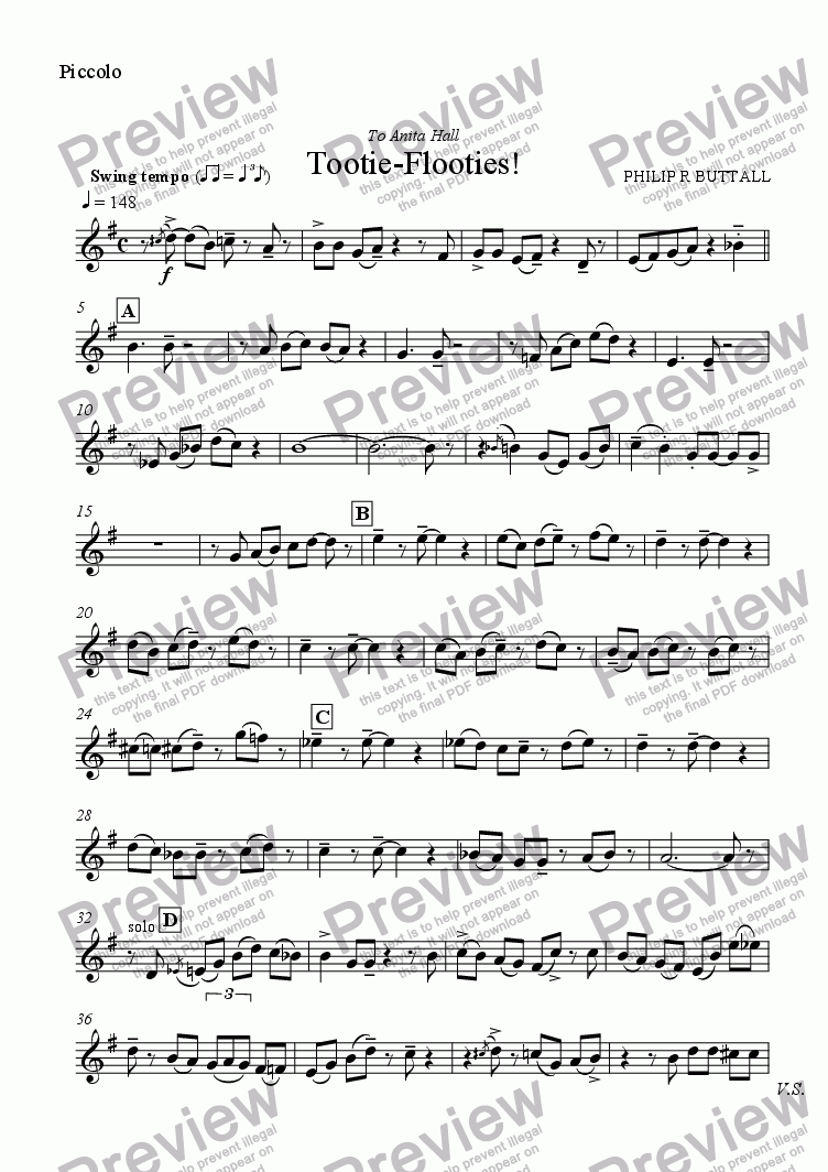 page one of the Piccolo part from Tootie-Flooties! (Flute Quintet)