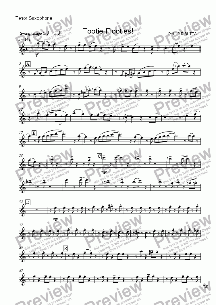 page one of the Tenor Saxophone part from Tootie-Flooties! (Saxophone Quartet / Quintet)