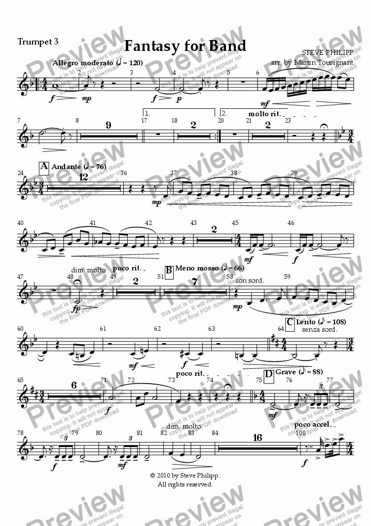 page one of the Trumpet 3 part from Fantasy for Band by Steve Philipp, Arranged by Martin Tousignant