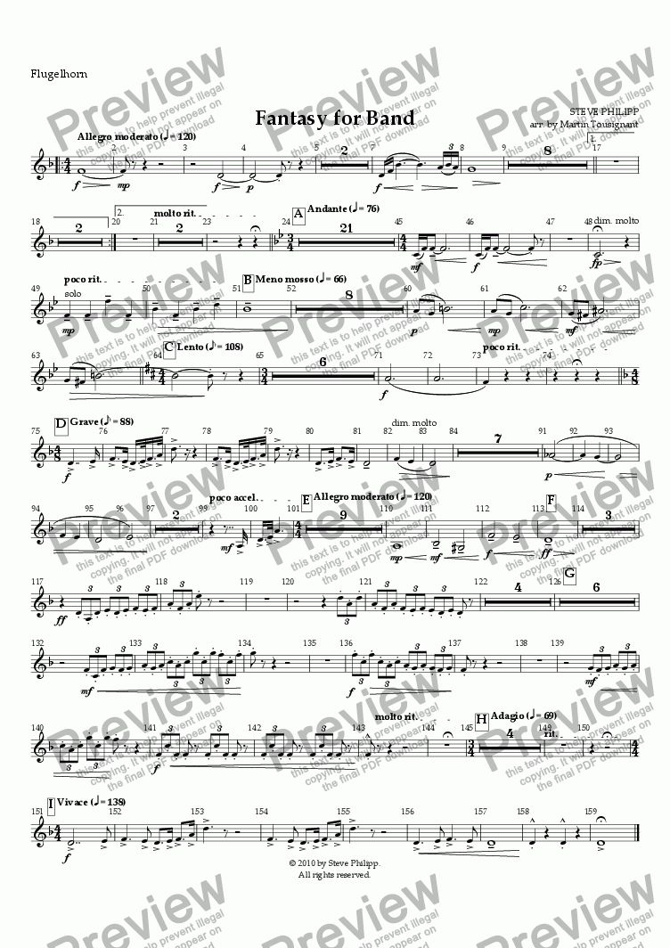 page one of the Flugelhorn part from Fantasy for Band by Steve Philipp, Arranged by Martin Tousignant