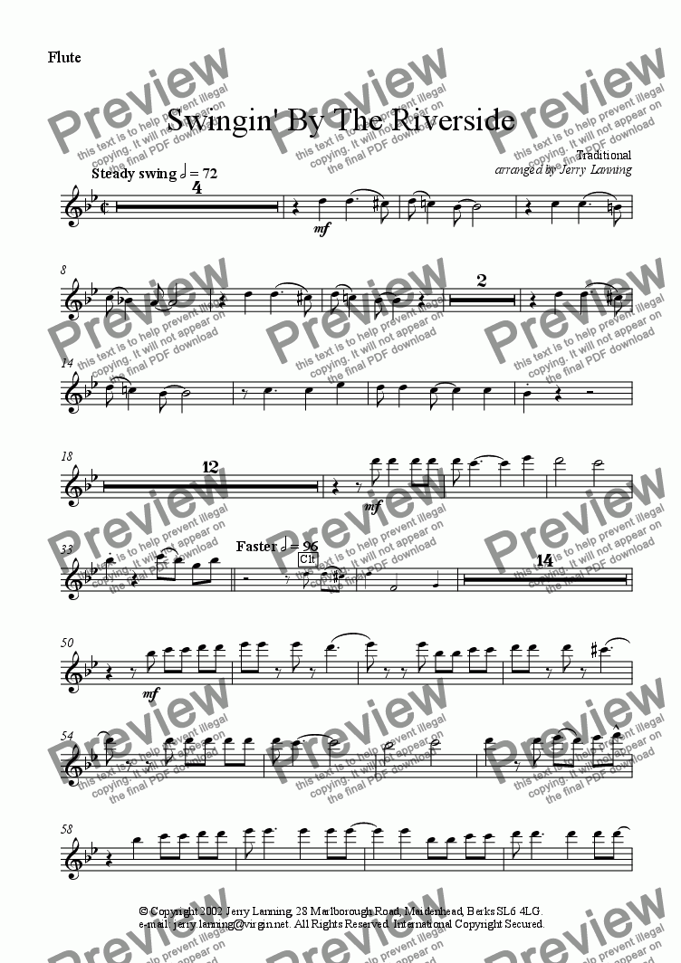 page one of the Flute part from Swingin' By The Riverside (wind quintet)