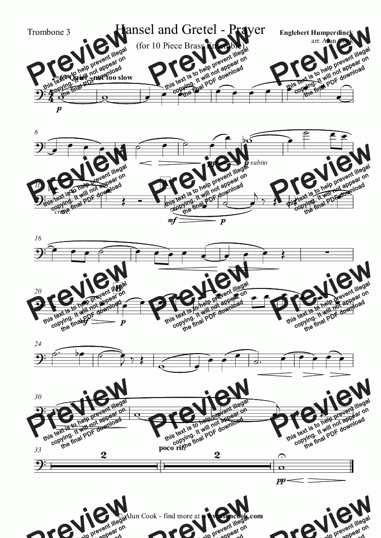 page one of the Trombone 3 part from Hansel and Gretel - Prayer (10 Piece Brass Ensemble)