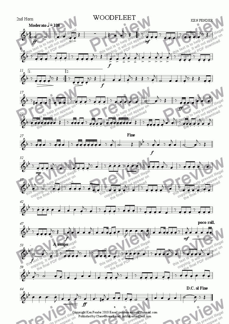 page one of the 2nd horn part from Woodfleet