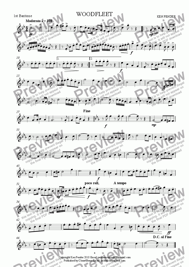 page one of the 1st baritone part from Woodfleet