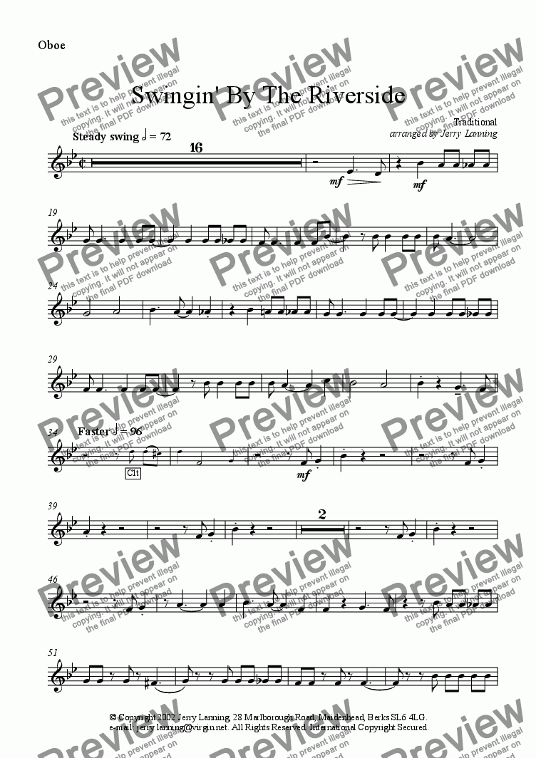 page one of the Oboe (alt. for Cor Ang) part from Swingin' By The Riverside (wind quintet)