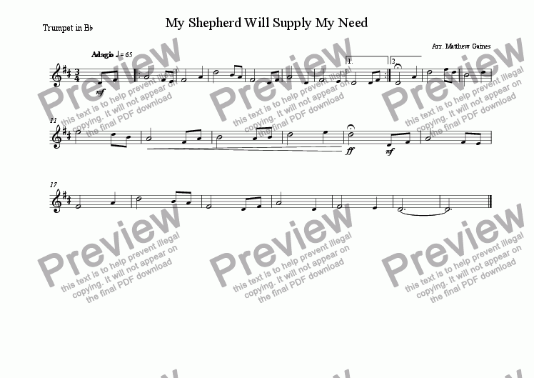 page one of the Trumpet in Bb part from My Shepherd Will Supply My Need