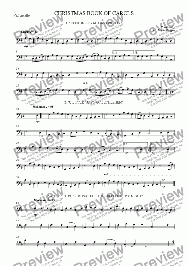 page one of the Violoncello part from Christmas Book of Carols (String Quartet) (2010)