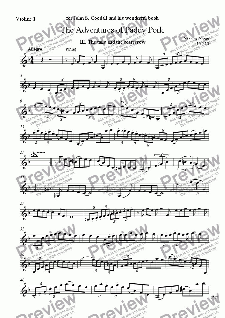 page one of the Vl part from Violin Suite (Paddy Pork III - The tails and the scarecrow)
