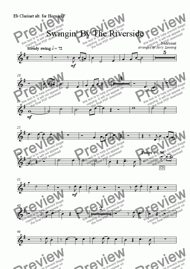 page one of the Eb Alto Clarinet (alt. for Horn in F) part from Swingin' By The Riverside (wind quintet)