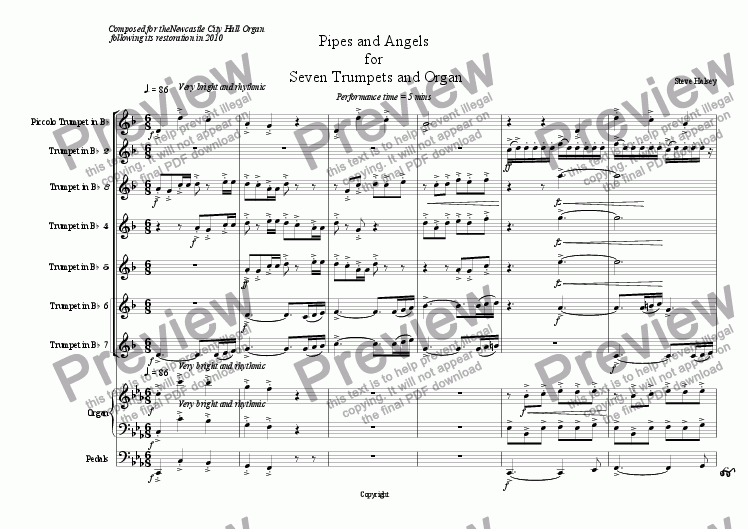 page one of the Trumpet 7 part from Pipes and Angels for 7 Trumpets and Organ