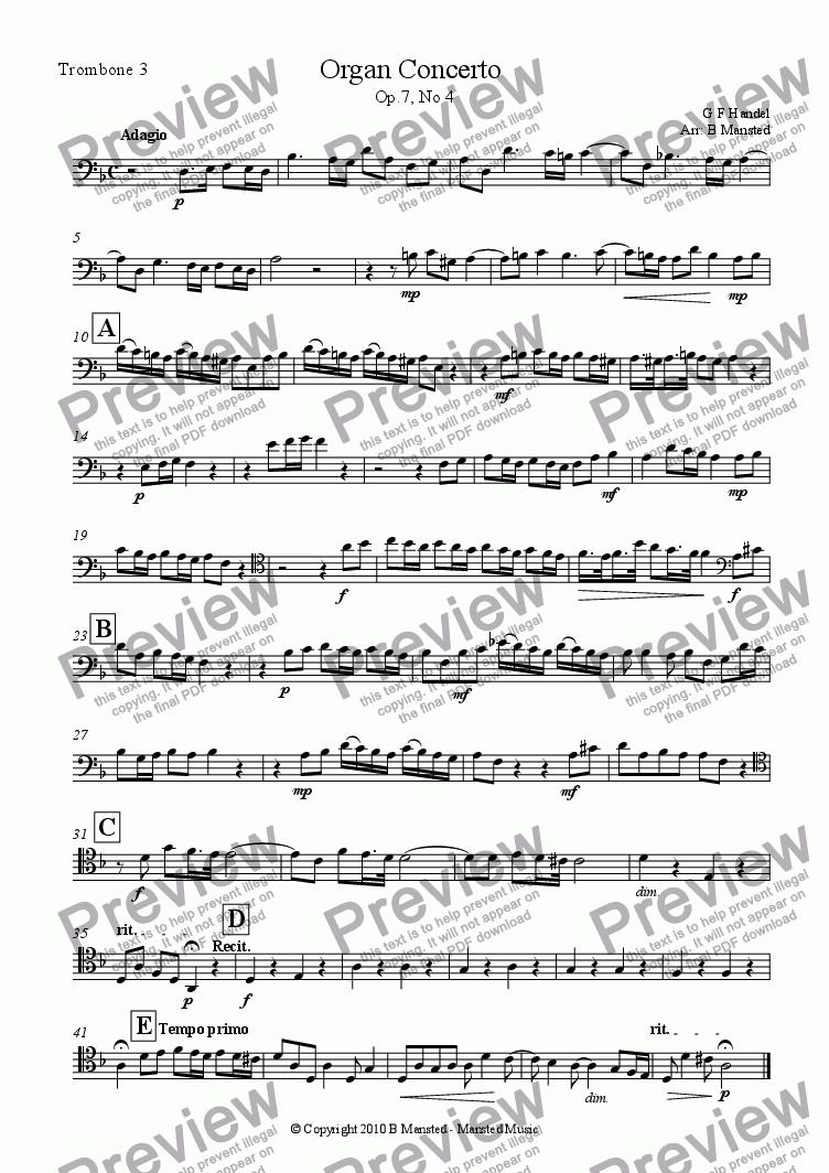 page one of the Trombone 2 part from Adagio from Organ Concerto op.7 no.4