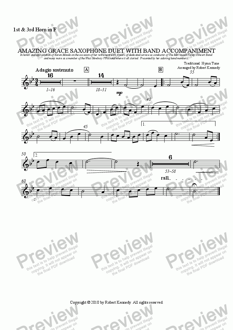 page one of the F Horn 1 & 3 part from Amazing Grace Saxophone Duet With Band Accompaniment