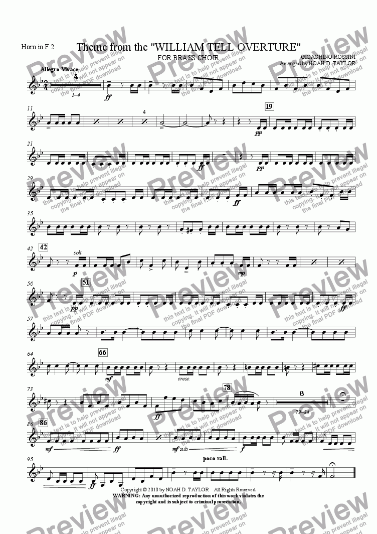 "page one of the Horn in F 2 part from Theme from the ""WILLIAM TELL OVERTURE"""