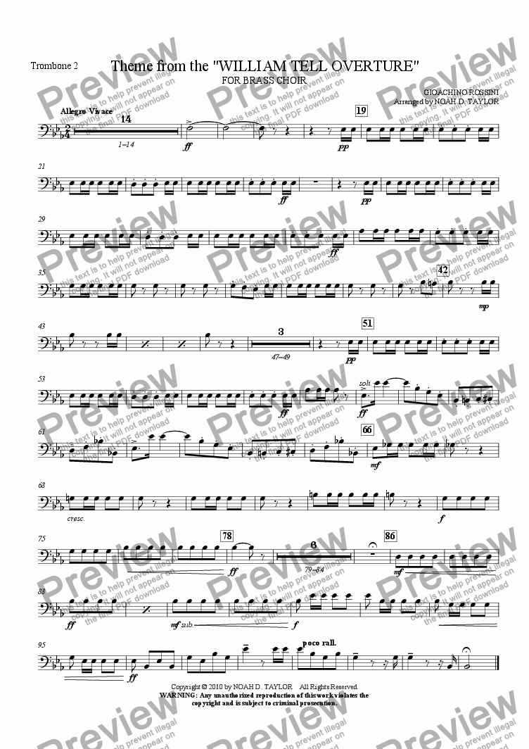 "page one of the Trombone 2 part from Theme from the ""WILLIAM TELL OVERTURE"""